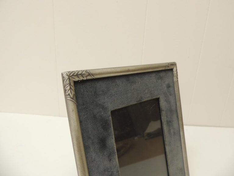 Vintage Pewter Picture Frame with velvet inset panel and glass under.