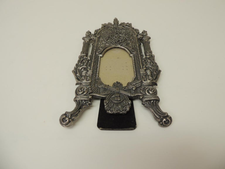 Country Vintage Pewter Picture Frame in Shape of a Cheval Floor Mirror For Sale