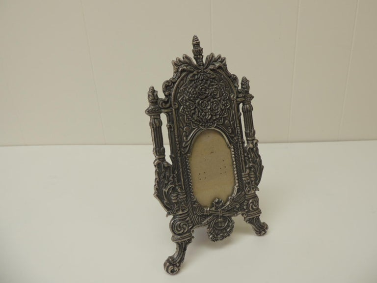 Asian Vintage Pewter Picture Frame in Shape of a Cheval Floor Mirror For Sale