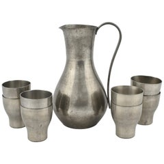 Vintage Pewter Pitcher with Cups by Harald Buchrucker, Germany, 1960s
