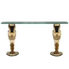 Vintage Pharaoh Base Glass Top Console Table