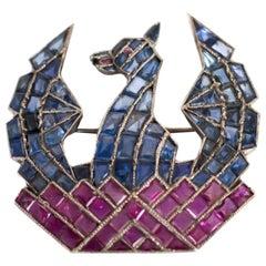 Vintage Phoenix Bird Ruby and Sapphire Pin