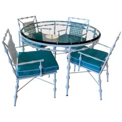 Vintage Phyllis Morris Patio Dining Set Table & 4 Armchairs Chairs Powder-Coated