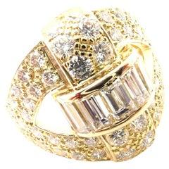 Vintage Piaget 3ct Diamond Yellow Gold Cocktail Ring