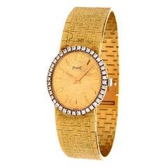 Vintage Piaget Diamond 18 Karat Yellow Gold Oval Ladies Watch