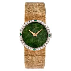 Vintage Piaget Diamond Emerald Jade Ladies 9706A6 18 Karat Gold Watch