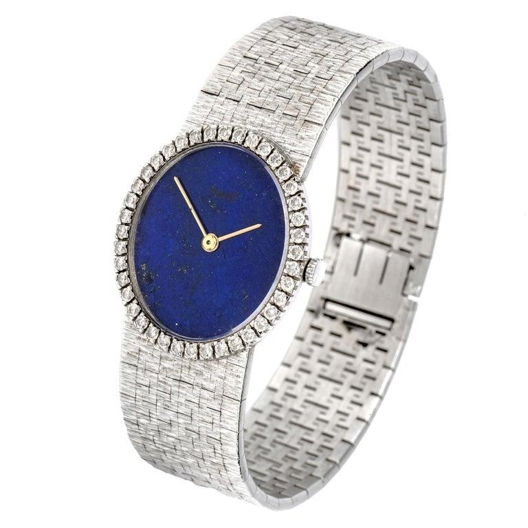 Modern Vintage Piaget Diamond Lapis Dial 18 Karat White Gold Ladies Watch For Sale