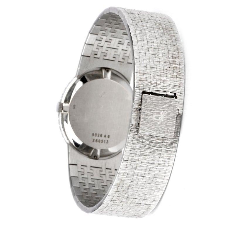 Vintage Piaget Diamond Lapis Dial 18 Karat White Gold Ladies Watch In Excellent Condition For Sale In Miami, FL
