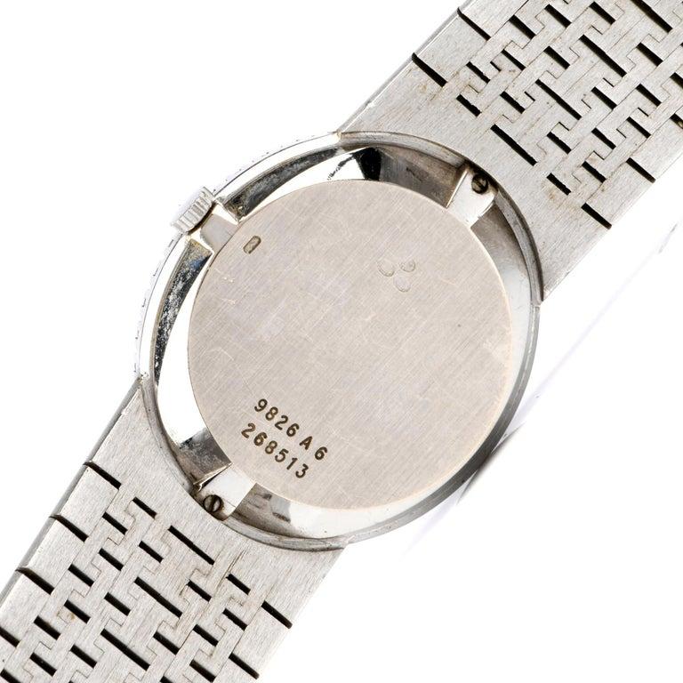Women's Vintage Piaget Diamond Lapis Dial 18 Karat White Gold Ladies Watch For Sale