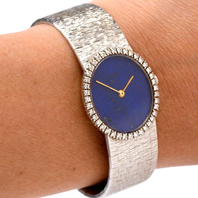 Vintage Piaget Diamond Lapis Dial 18 Karat White Gold Ladies Watch For Sale 2