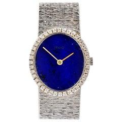 Vintage Piaget Diamond Lapis Dial 18 Karat White Gold Ladies Watch