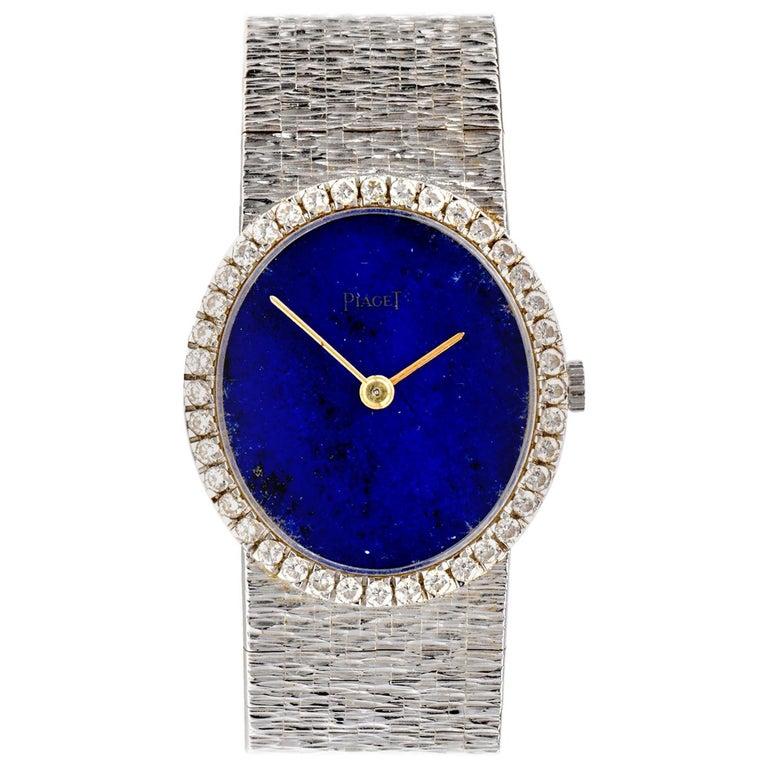Vintage Piaget Diamond Lapis Dial 18 Karat White Gold Ladies Watch For Sale