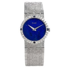 Vintage Piaget Diamond Sapphire Lapis 18 Karat White Gold Ladies Watch