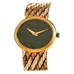 Vintage Piaget Jade Dial 18k Gold Ref 9802 Watch