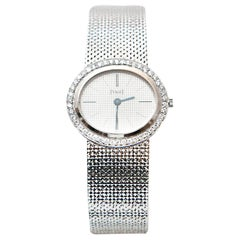 Vintage Piaget Ladies Altiplano 18 Karat White Gold Diamonds Wristwatch