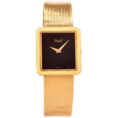 Vintage Piaget Onyx Rectangle 18 Karat Yellow Gold Unisex Watch