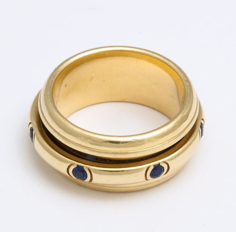 Women's or Men's Vintage Piaget Sapphire and 18 Karat Gold For Sale