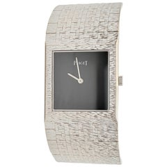 Vintage Piaget White Gold Square Onyx Dial Watch