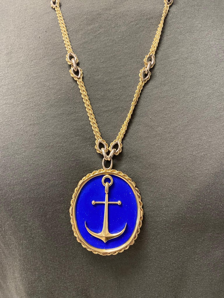 Vintage Piaget Yellow Gold and Lapis  Anchor Penchant Chain Necklace For Sale 6