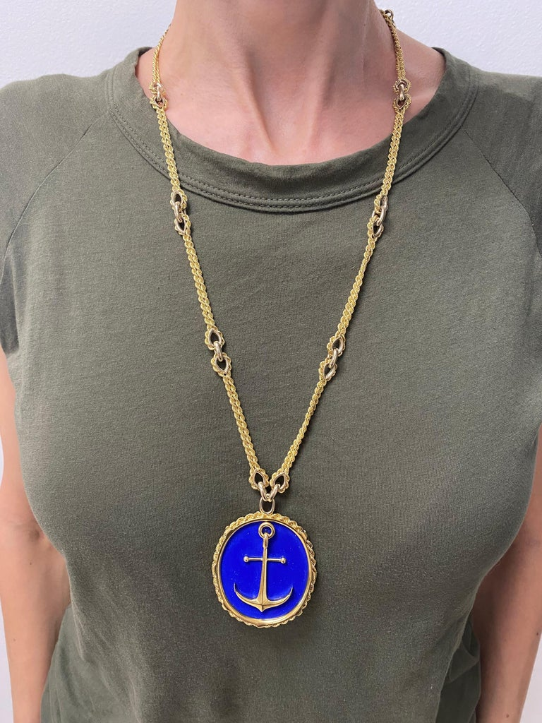 Vintage Piaget Yellow Gold and Lapis  Anchor Penchant Chain Necklace For Sale 7