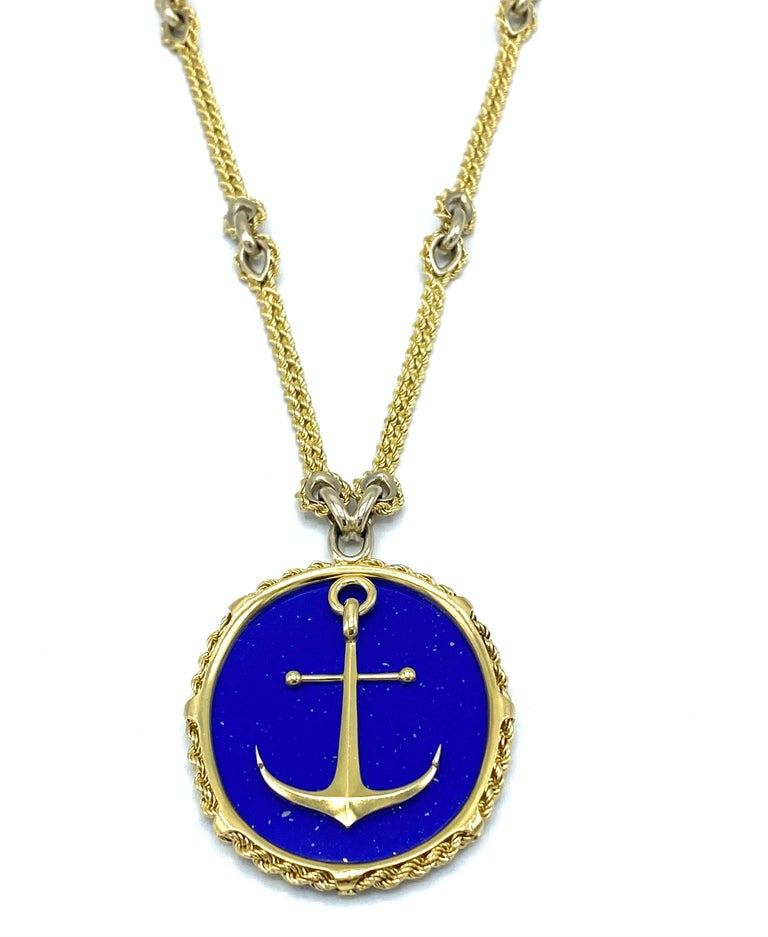 Women's or Men's Vintage Piaget Yellow Gold and Lapis  Anchor Penchant Chain Necklace For Sale