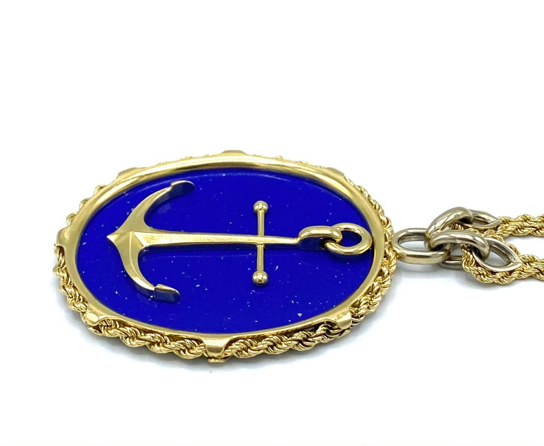 Vintage Piaget Yellow Gold and Lapis  Anchor Penchant Chain Necklace For Sale 2