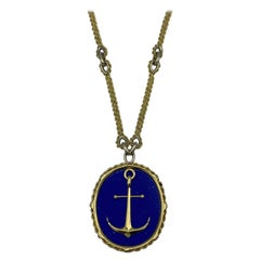 Vintage Piaget Yellow Gold and Lapis  Anchor Penchant Chain Necklace