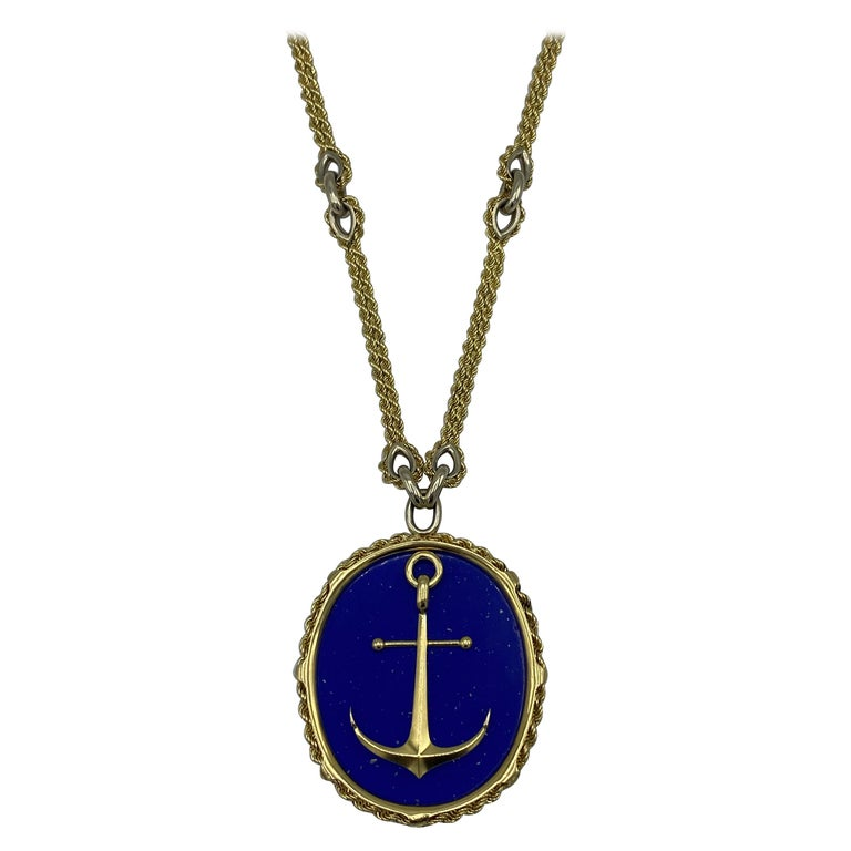 Vintage Piaget Yellow Gold and Lapis  Anchor Penchant Chain Necklace For Sale