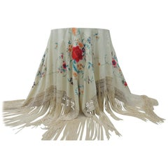 Vintage Piano Shawl with Silk Embroidered Flowers on Beige Silk