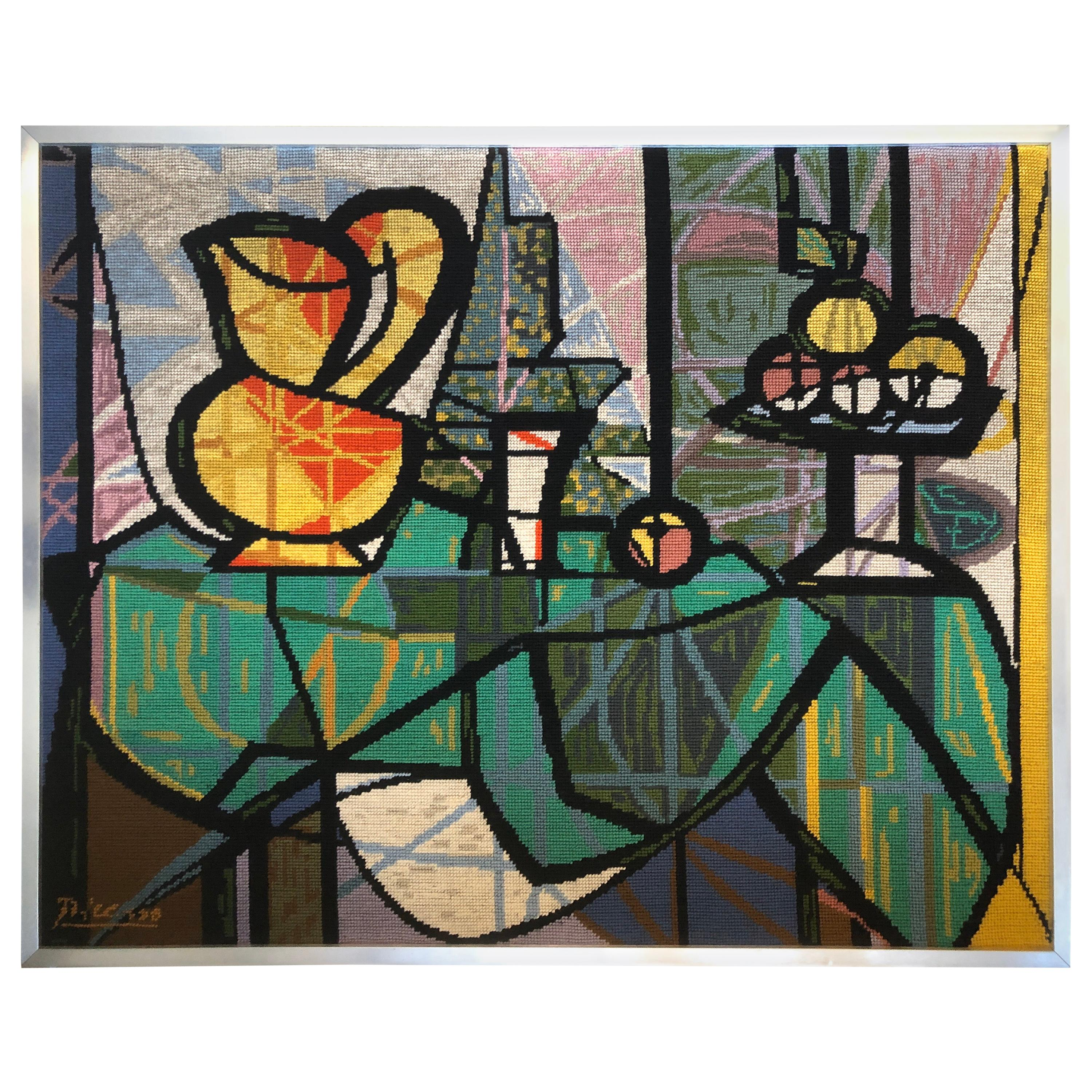 """Vintage Picasso """"After"""" Still Life wool needlepoint Tapestry, circa 1970s"""