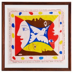 Vintage Picasso Framed Cotton Scarf With Multicolored Print, Germany, 1951