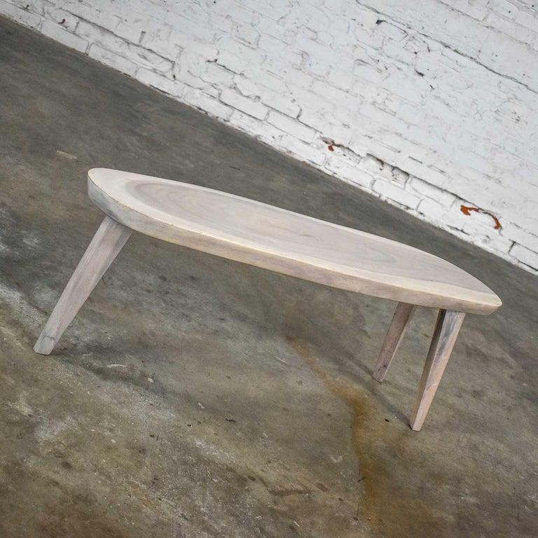 Vintage Pickled Mahogany Oval Slab Top Tri-Leg Table Style Nakashima For Sale 7