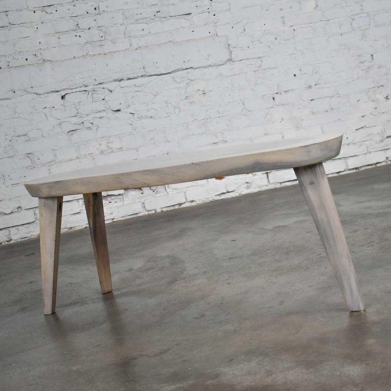 Vintage Pickled Mahogany Oval Slab Top Tri-Leg Table Style Nakashima For Sale 8