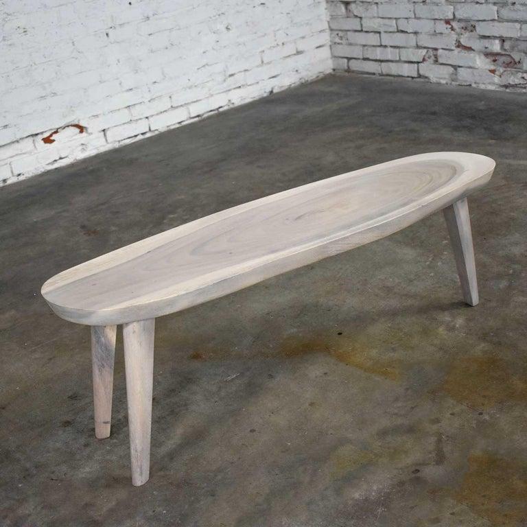 Vintage Pickled Mahogany Oval Slab Top Tri-Leg Table Style Nakashima For Sale 9