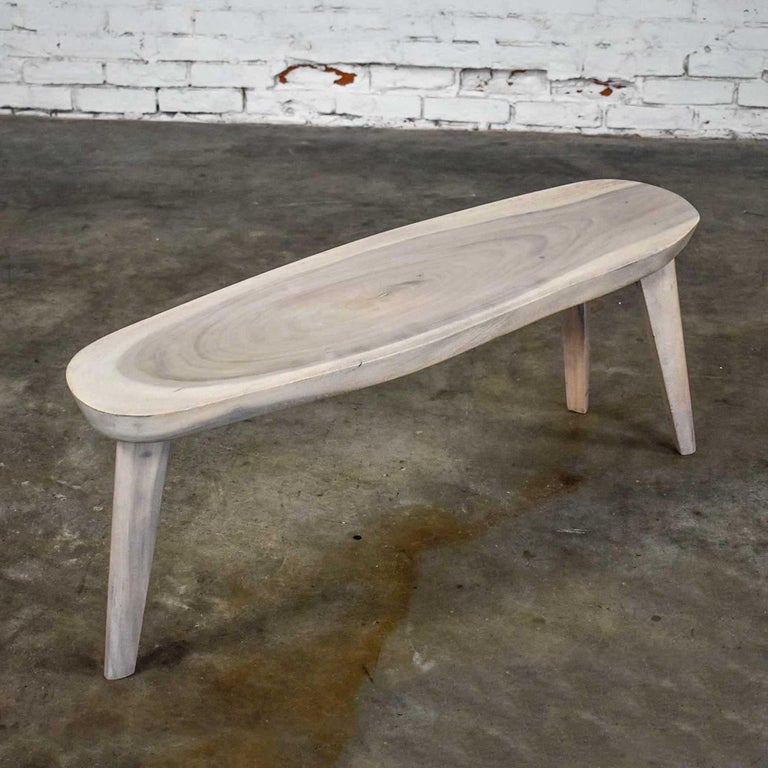 Vintage Pickled Mahogany Oval Slab Top Tri-Leg Table Style Nakashima For Sale 10