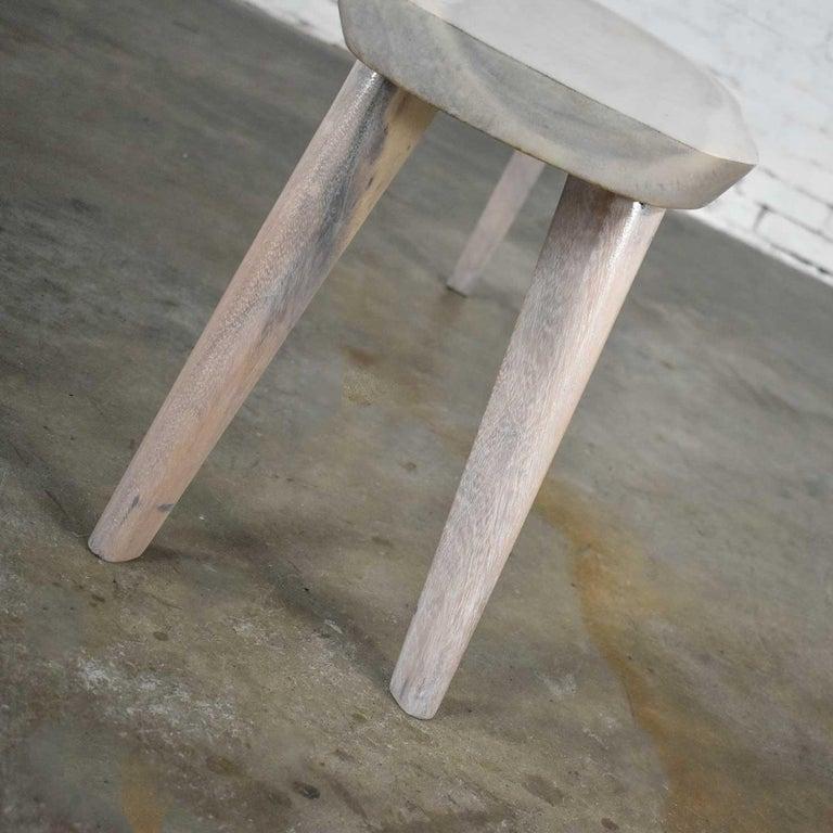 Vintage Pickled Mahogany Oval Slab Top Tri-Leg Table Style Nakashima For Sale 12