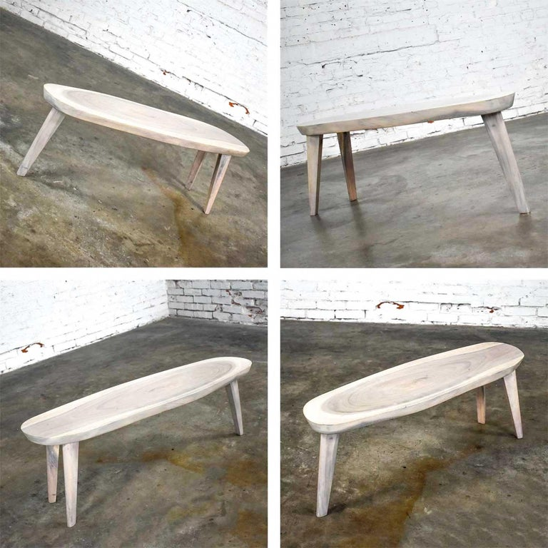 Vintage Pickled Mahogany Oval Slab Top Tri-Leg Table Style Nakashima For Sale 14