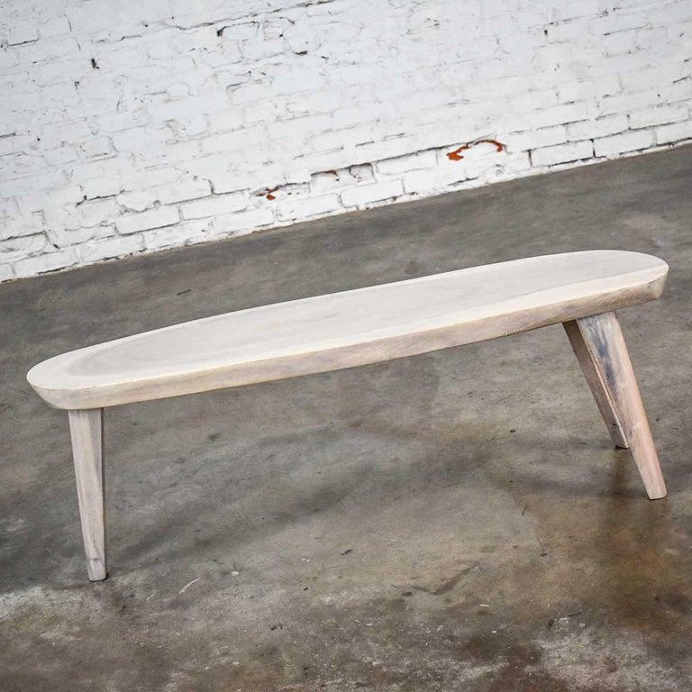 Mid-Century Modern Vintage Pickled Mahogany Oval Slab Top Tri-Leg Table Style Nakashima For Sale