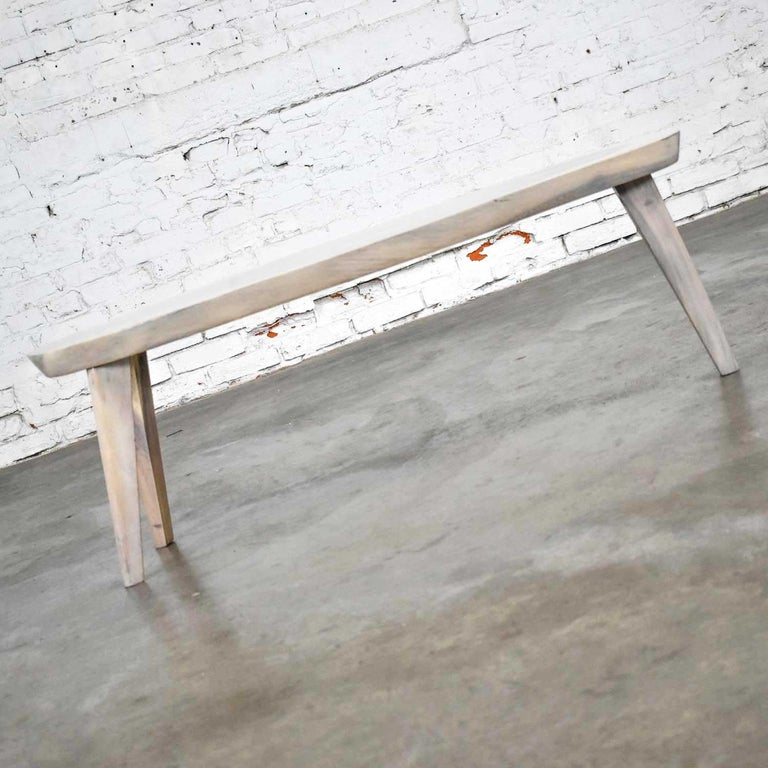 Vintage Pickled Mahogany Oval Slab Top Tri-Leg Table Style Nakashima For Sale 1