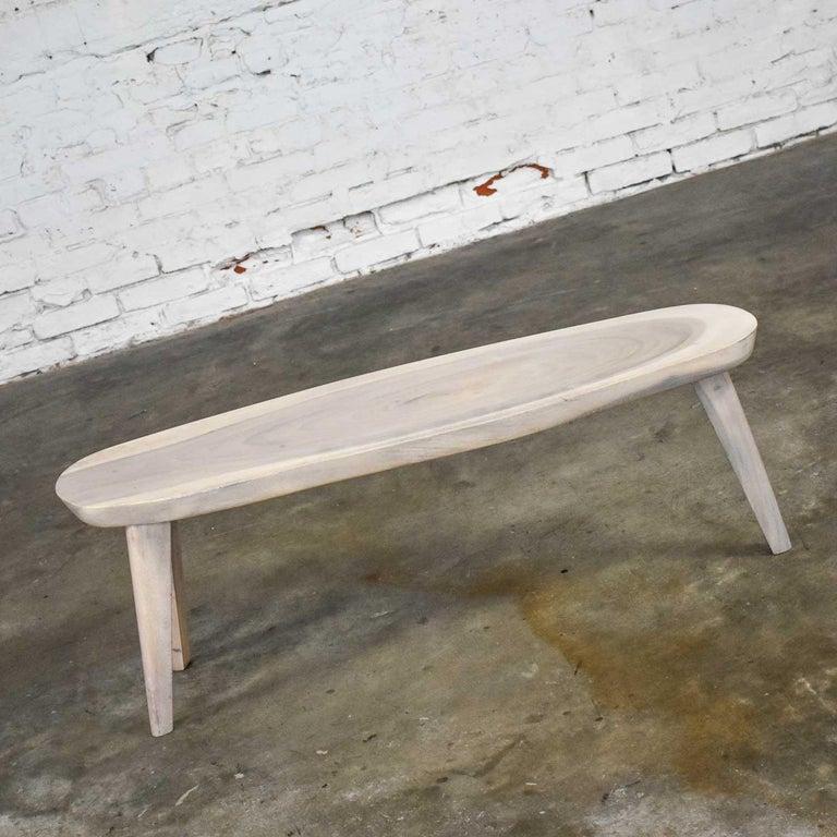 Vintage Pickled Mahogany Oval Slab Top Tri-Leg Table Style Nakashima For Sale 2