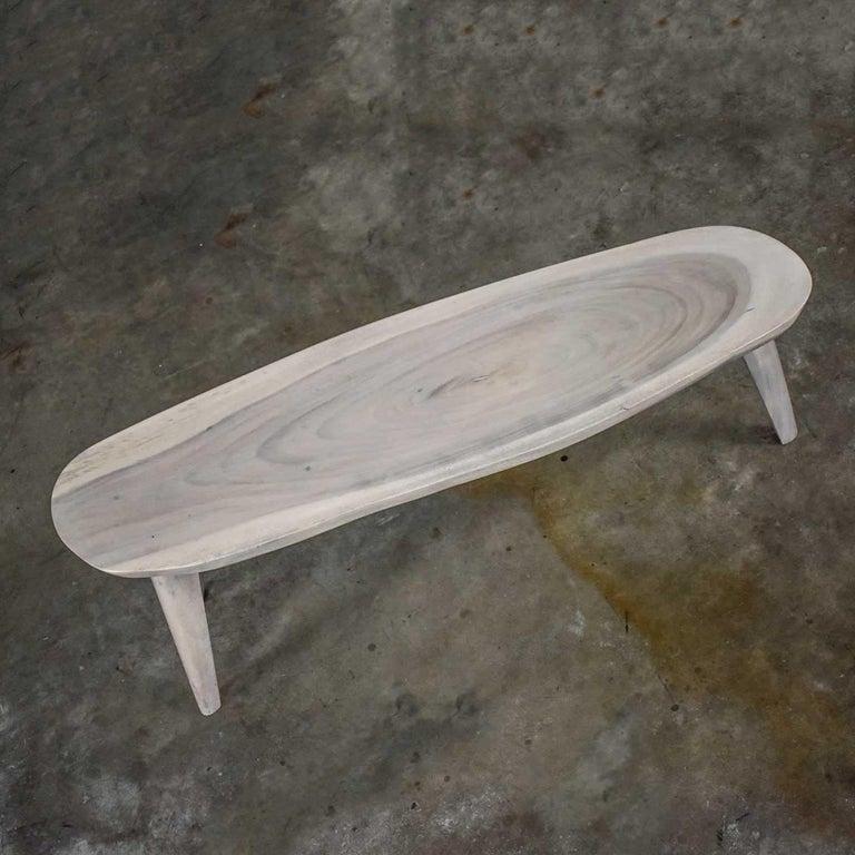 Vintage Pickled Mahogany Oval Slab Top Tri-Leg Table Style Nakashima For Sale 3
