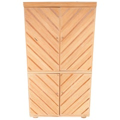 Vintage Pickled Wood Armoire in Chevron-Form by Kreiss, Ca. 1980's