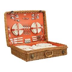 Vintage Picnic Set in Wicker Basket