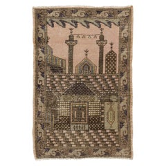 Vintage Pictorial Anatolian Prayer Rug Depicting a Mosque