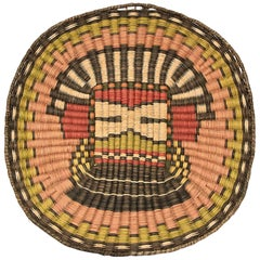 Vintage Pictorial Hopi Wicker Plaque, Native American Basketry