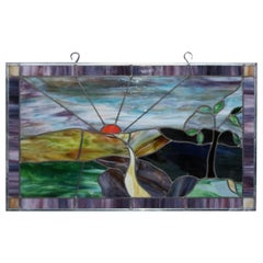 Vintage Pictorial Leaded Slag Glass Panel with Country Road and Sunset Scene