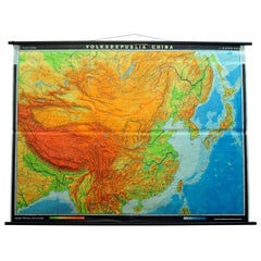 Vintage Picture Poster Wall Chart Rollable Large Map Peoples Republic of China