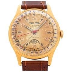 Vintage Pierce Triple Date Moonphase 14 Karat Yellow Gold-Plated Watch, 1950s