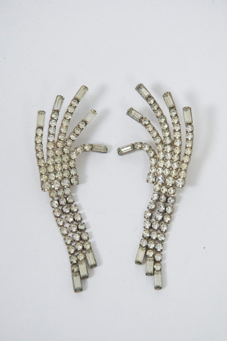 Vintage Pierced Rhinestone Earrings In Good Condition For Sale In Alford, MA