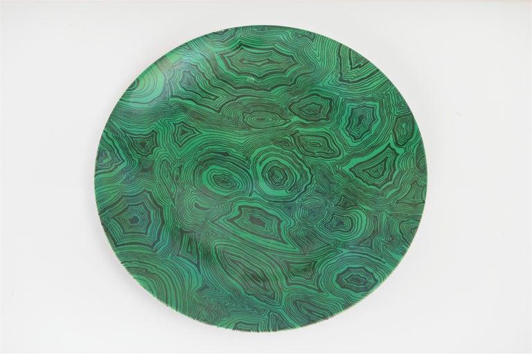 Italian Vintage Piero Fornasetti Green Faux Malachite Plate, circa 1950 For Sale